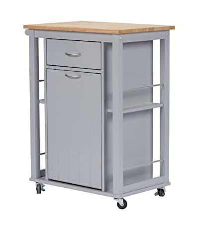 Baxton Studio Yonkers Contemporary Kitchen Cart with Wood Top, Light Grey