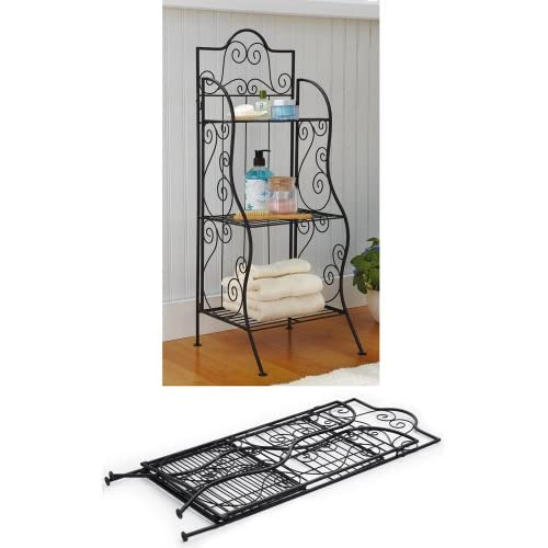 Small Collapsible 3 Tier Metal Scrollwork Baker 39 S Rack Kitchen Bathroom Towel