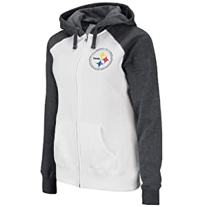 NFL Women's Pittsburgh Steelers Sport Princess Long Sleeve Raglan Full-Zip Fleece Hoodie by Majestic