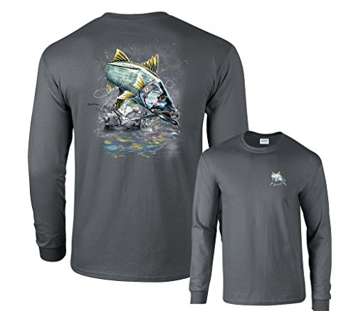 Fair Game Jumping Snook Sergeant Fish Robal Fishing Long Sleeve T-Shirt-Charcoal-Youth Medium (Snook Fishing compare prices)