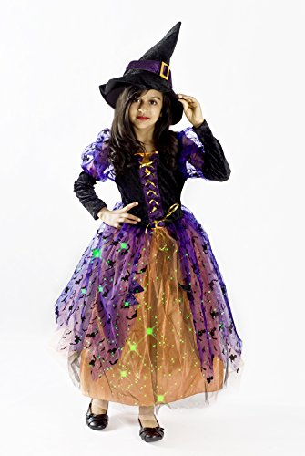 Black Witch Halloween Costume for Girls lightup Halloween Small Medium