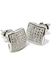 Elegant White Gold Sterling Silver Square Stud Earrings