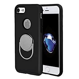 iPhone 7 Ring Stand Case with Magnetic Car Holder, 360°Rotation Metal Finger Ring Grip/Stand Holder/Kickstand Anti-Drop Protective cover for Apple iPhone 7 4.7 inch (iPhone 7, Black with Magnetic)