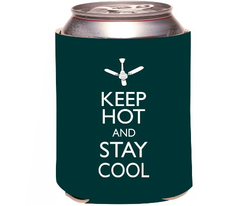"Rikki Knight ""Keep Hot And Stay Cool Green Color Design"" Beer Can Soda Drinks Cooler Koozie front-596145"