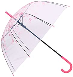 AMC Transparent Cherry Blossom Bubble Dome Shape Semi-Automatic Umbrella for Rain & Wind