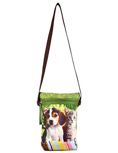 Indiano Digital Graphic Pussy Cat e Dog Croce Body Satchel indiano Handbag - Adorabile stampa all-over - Poliestere Dupion Faux Seta - 8 x 10 x 2,5 pollici