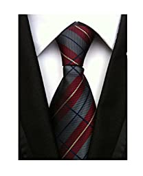 MENDENG New Classic Plaids Check Baby Blue Jacquard Woven Silk Men\'s Tie Necktie