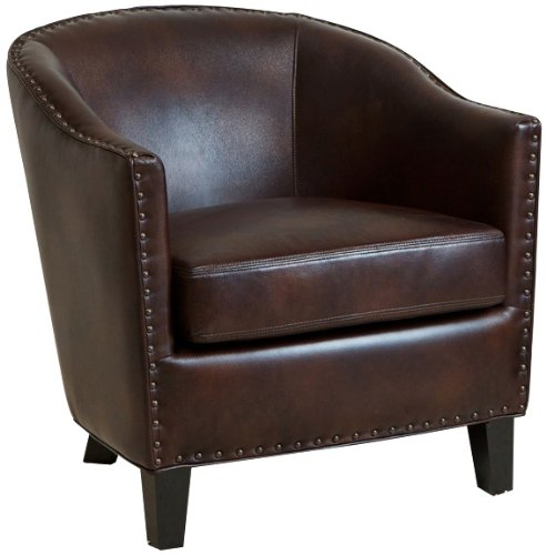 Charles studded brown bonded leather club chair for Brown leather couch with studs