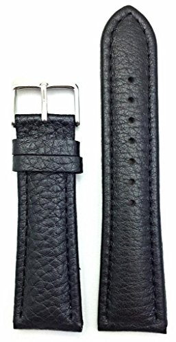24mm Black , Shrunken Grained Leather, Medium Padded Watch Band (Mickey Mouse Pics compare prices)