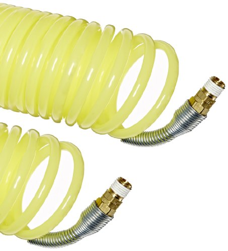 Legris Nylon 12 Self-Recoiling Hose Assembly with Brass Swivel Fittings, Yellow, 5/16