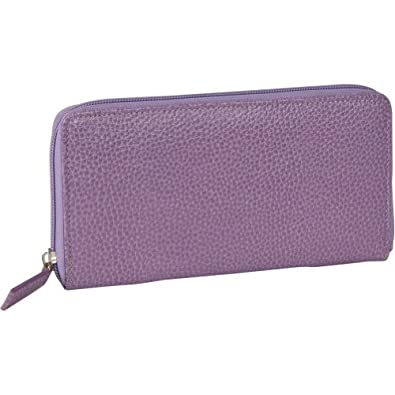 Budd Leather Pebble Grained Leather Large Zip Around Wallet (Purple)