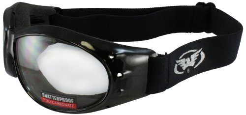 Global Vision ELIMCL Eliminator Black Frame Motorcycle Goggles with Clear Shatterproof Anti-Fog Polycarbonate Lenses.