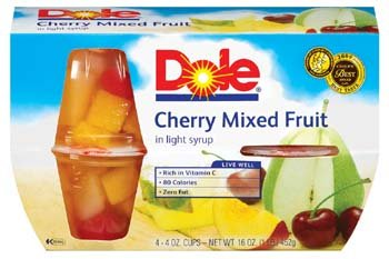Dole Cherry Mixed Fruit Bowl in Light Syrup 4 4 oz cups