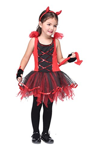 NonEcho Child's Girls Red Devil Costume Halloween Outfit Kit