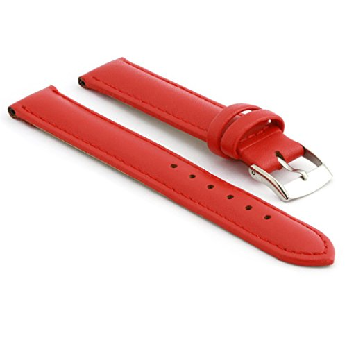 StrapsCo Extra Long Matte Red Genuine Leather Watch Strap size 12mm (12mm Extra Long Watch Strap compare prices)