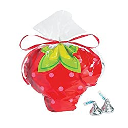Strawberry Cellophane Bags - 12 ct