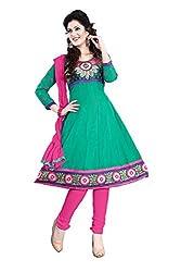 Kimisha Green Cotton Embroidered Anarkali Dress Material