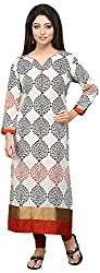 Vastra Vinod Women's Cotton Kurta (Aug10tn, Off-White, XXX-Large)