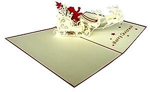 carte de voeux 3d pop up joyeux n el le p re no l en promenade avec les rennes. Black Bedroom Furniture Sets. Home Design Ideas
