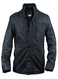 FactoryExtreme Triology Mens Black Leather Blazer, Large, Black