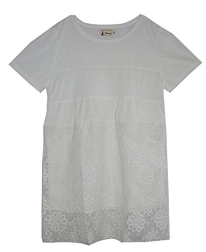 Am Clothes Womens Organza Short Sleeve Maternity Blouses Medium White front-932281