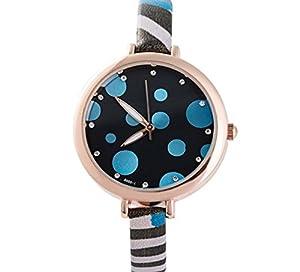 Women's Style Small Dots Fase PU Band Quartz Wrist Watch