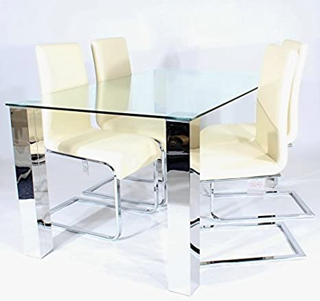Charles Jacobs Dining Table Set with 4 Cream Chairs, Chrome Legs and Clear Glass Top, 4 Seats