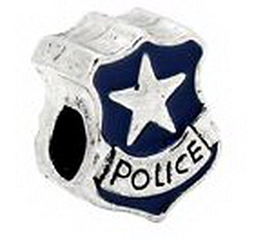 Beads Hut - Blue Enamel Police Officer Badge Bead for Silver European Jewelry Charm Bracelet