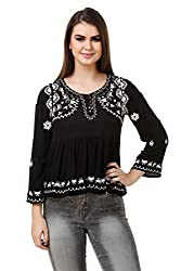 Brand Me Up women Floral net embroidered Frill Full sleeve top - M Size (black)