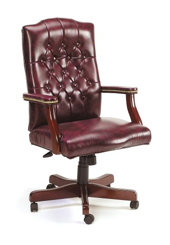 Boss Traditional Executive Oxblood Vinyl Chair With Mahogany Finish Oxblood