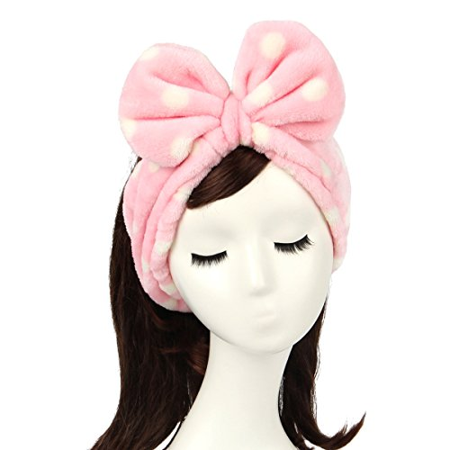 Shintop Women Fashion Sweet Lovely Coral Fleece Bowknot Makeup Cosmetic Elastic Hairlace (Hairband Pink)