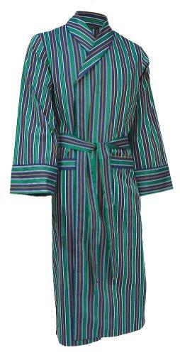 Leichter Hausmantel/Morgenmantel/Bademantel von Lloyd Attree & Smith - Baumwolle - Multi-Streifen Marineblau Grün Gold - Herren (Größe XXL)