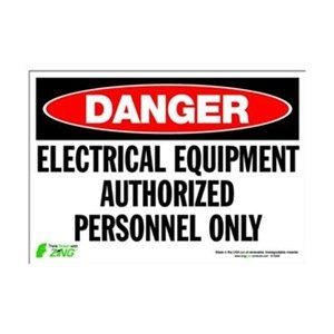 "Zing Eco Safety Sign, Header ""Danger"", ""Electrical Equipment Authorized Personnel Only"", 10"" Width X 7"" Length, Self Adhesive Eco-Poly, Red/White/Black (Pack Of 1)"