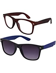 Sheomy Unisex Combo Pack Of Transparent Brown Wayfarer Sunglasses And Blue Wayfarer Sunglasses For Men And Women...