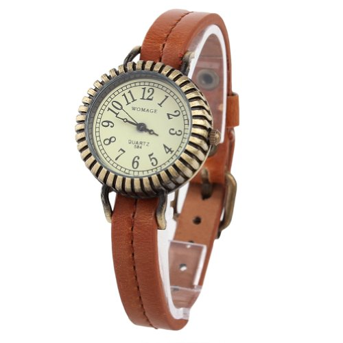 WLM Women Ladies Girls Brown Band Classic Retro Gear Design Leatheroid Made Quartz Wrist Watch Watches Clock