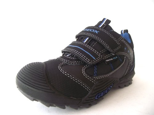 Boys Geox SavageWP Waterproof Black/Royal Blue Trainer/School Shoes
