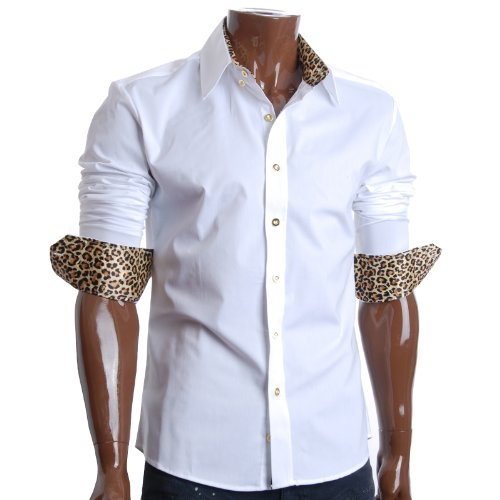 FLATSEVEN Mens Slim Fit Leopard Lined Casual Dress Shirts (SH406) White, M