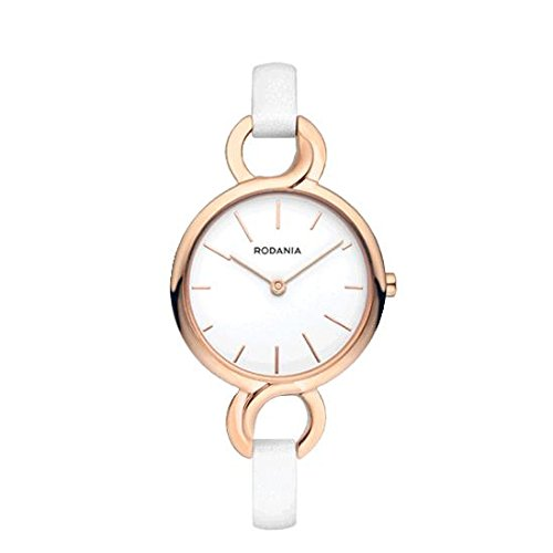 RODANIA Women's Strada Balance White Leather Band Rose Gold IP Case Quartz Analog Watch 26179.33