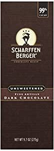 Scharffen Berger Unsweetened Dark Chocolate Baking Bar (99% Cacao), 9.7 oz