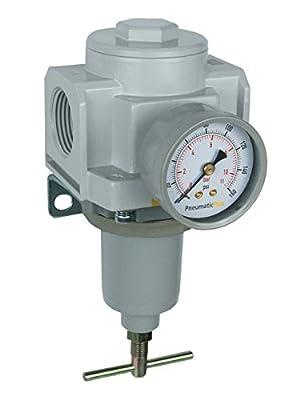 "PneumaticPlus SAR6000T-N10BG High Flow Air Pressure Regulator 1"" NPT, T-Handle with Gauge & Bracket"