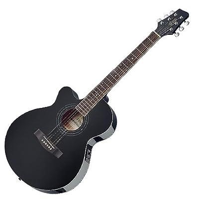 Stagg SA40MJCFI-LH BK Left Handed Electro Acoustic Guitar - Black