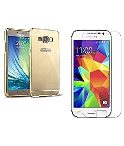 PREGO (Combo offer) Golden Luxury Metal Bumper case cover Acrylic Mirror Back Cover Case With Curve Tempered Glass For Samsung Galaxy A5-A500(2015) (Not For 2016)