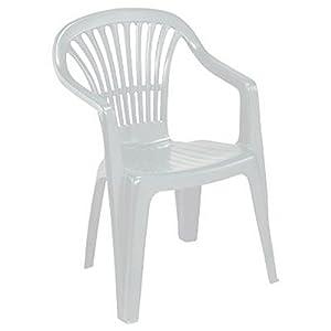 Azard sedia bianca plastica impilabile giardino garden for Sedia plastica bianca