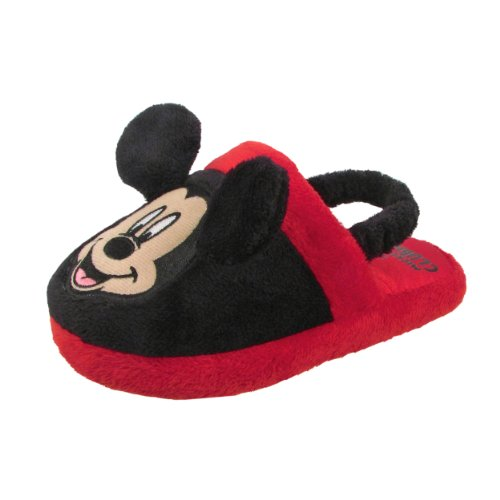 Disney 0MMF220 Mickey Mouse Slipper (Toddler/Little kid),Black/Red,Small (5-6 M US Toddler)