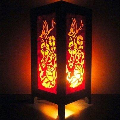 Thai Vintage Handmade ASIAN Oriental Yel Butterfly Flowers Zen Art Bedside Table Lamp Lighting Shades
