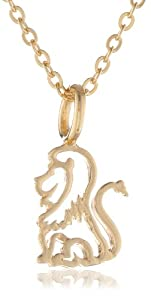 """Samantha Faye """"Menagerie"""" Small 14k Gold Plated Lion Pendant Necklace"""