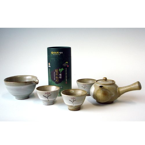 Korean Organic Premium Top Grade Mountain Loose Leaf Green Ceramic Pottery Complete Tea Pot Cup Bowl Gift Set