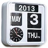Fartech Retro Modern 9.5 Inches Calendar Auto Flip Desk Wall Clock (Full White)