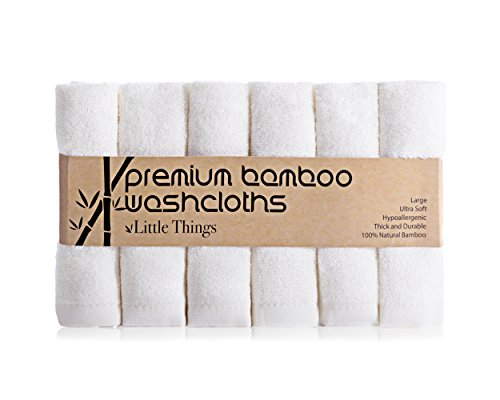 Little Things 100% Bamboo Washcloths, SOFT Reusable Cloth Baby Wipes, Best For Diaper Rash, Sensitive Skin – Makeup Remover, Natural, No Dyes, Perfect Baby Registry / Shower Gift – 6 pk, 10″, White