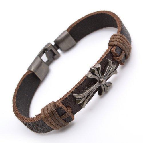 K Mega Jewelry Tribal Leather Cross Wristband Surf black Mens Bracelet B497